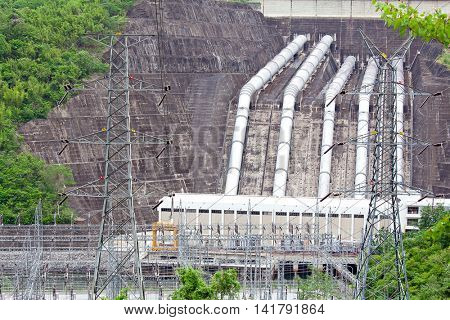 hydroelectric Power Plant with Pipeline from Dam