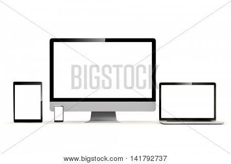 3d set of pc, laptop, tablet and phone on white background