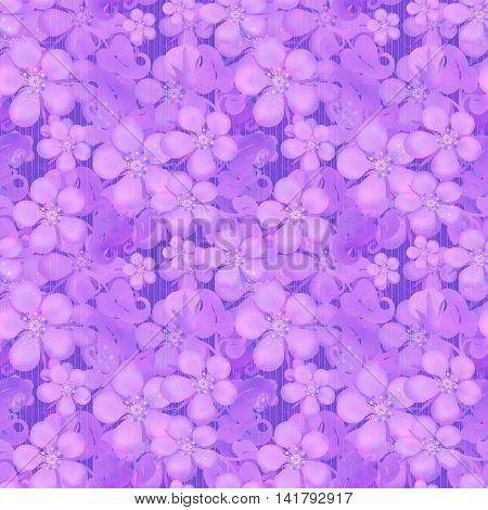 Seamless floral pattern. Wallpaper seamless flower pattern with violet flowers