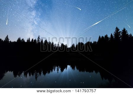 A view of the stars of the Milky Way with a silhouette of a pine trees forest near a lake in the mountain. Falling stars reflection in the water. Comets. Perseid Meteor Shower in 2016. poster