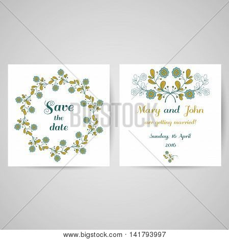 Wedding invitation with hand drawn blue flowers on white background. Vector illustration.