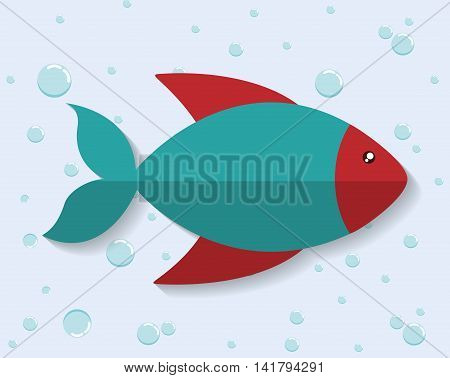 Sea animal cartoon design represented by fish icon. Colorfull and flat illustration.