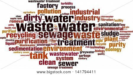Waste water word cloud concept. Vector illustration