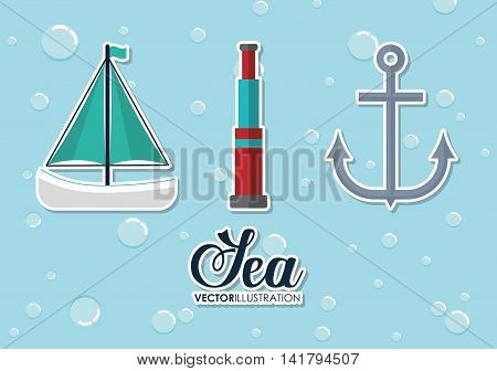 Sea lifestyle design represented by sailboat, binoculars and anchor icon. Colorfull and flat illustration.