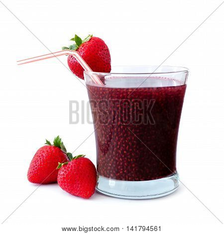 Healthy Strawberry Chia Seed Drink Isolated On A White Background