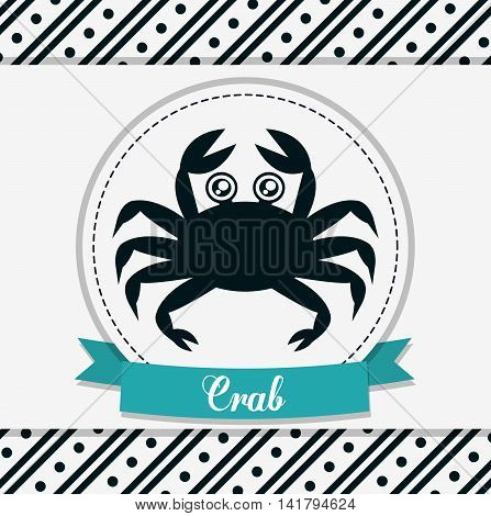Sea animal cartoon design represented by crab icon over seal stamp. Colorfull and flat illustration.