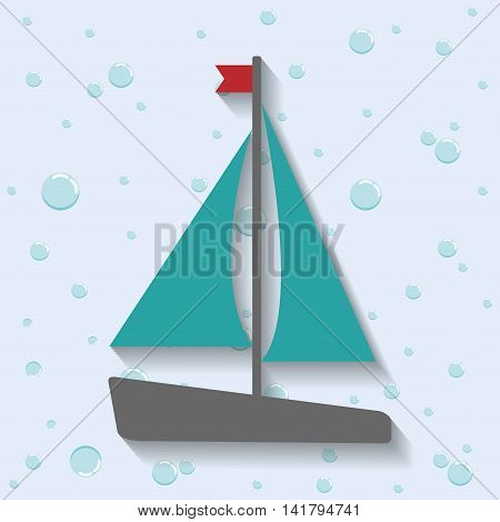 Sea lifestyle design represented by sailboat icon. Colorfull and flat illustration.