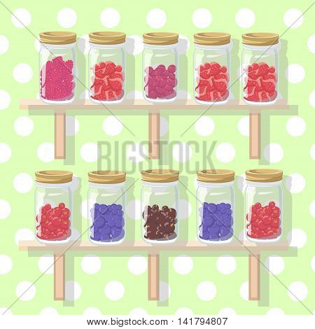 Berries Flat Icons Set With Grape Cherry Gooseberry Blackberry Isolated. Vector Color Illustration O