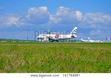 SAINT PETERSBURG RUSSIA- MAY 11 2016. Aegean airlines airplane SX-DVU Aegean Airlines Airbus A320 airplane after arrival at Pulkovo airport. Aegean Airlines is the largest Greek airline
