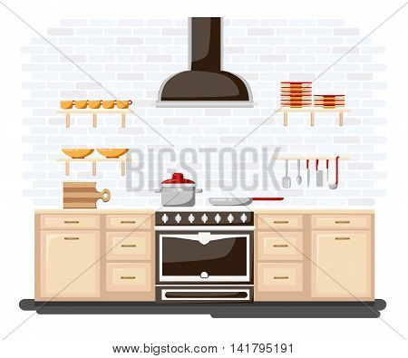 Kitchen With Furniture Flat Style Vector Illustration. Cartoon Style For Web, Analytics, Graphic Des