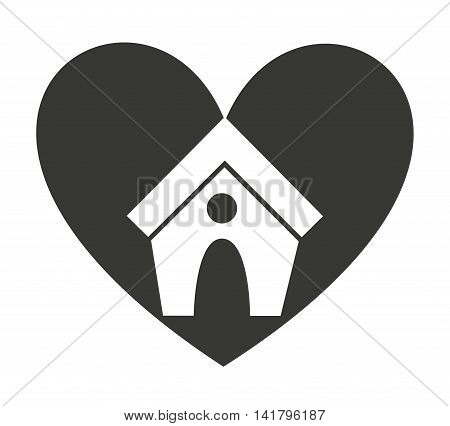 heart love pet mascot isolated icon vector illustration design