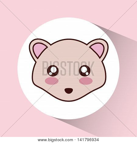 Cute animal design represented by kawaii hedgehog icon over circle. Colorfull and flat illustration.