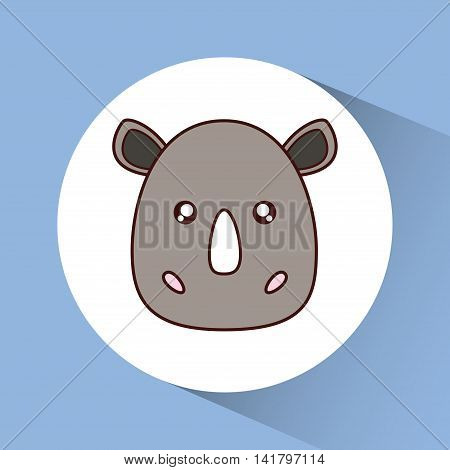 Cute animal design represented by kawaii rhino icon over circle. Colorfull and flat illustration.