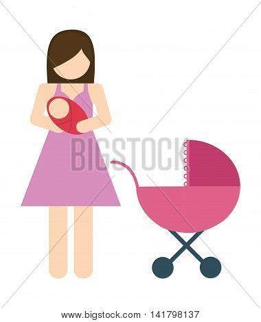 Avatar Family design represented by mother and baby icon. Colorfull and Isolated illustration.