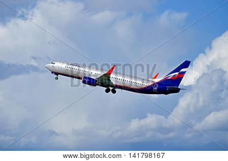 SAINT PETERSBURGRUSSIA-MAY 11 2016. VQ-BVP Aeroflot Boeing 737 airplane.Airplane is flying after departure from Pulkovo airport. Aeroflot airplane in the sky. Aeroflot is the flag carrier in Russia
