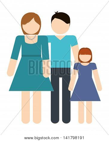 Avatar Family design represented by parents and daughter icon. Colorfull and Isolated illustration.