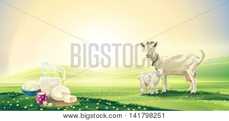 Dawn rural landscape with goat and kid and set dairy product. Raster illustration.