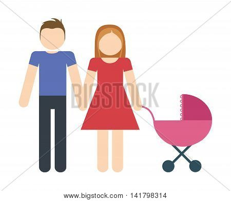 Avatar Family design represented by parents and baby icon. Colorfull and Isolated illustration.