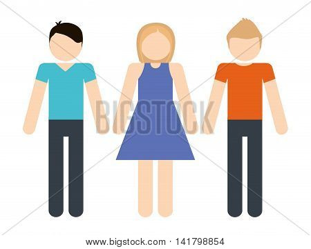 Avatar of young people design represented by girl and boys icon. Colorfull and Isolated illustration.
