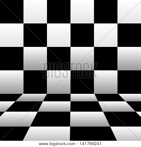 Black and white checkerboard background with the wall and the floor. Vector artwork in perspective.