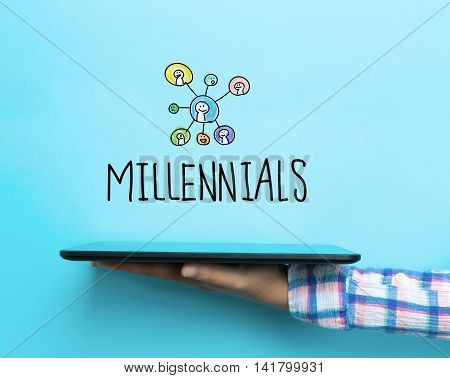 Millennials Concept With A Tablet