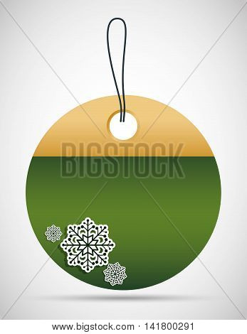 Merry Christmas concept represented by tag with snowflake icon. Colorfull and classic illustration