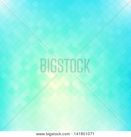 Bright blue square mosaic vector background. Abstract glowing checkered pattern