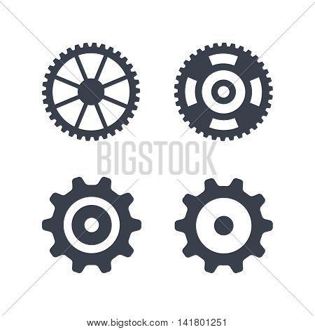 Machine gear wheel vector icons isolated on white background. Simple cogwheel symbols set
