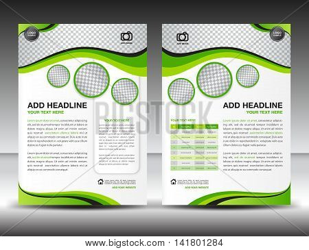 Green business brochure flyer design layout template in A4 size, poster, leaflet, ads, newsletter, cover, annual report, magazine ads, catalog, book