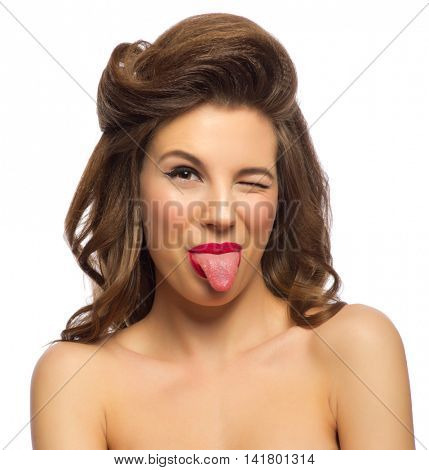 Portrait of pinup girl isolated