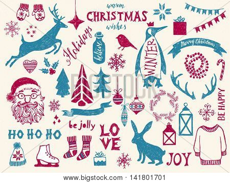 Hand drawn colorful Christmas design elements