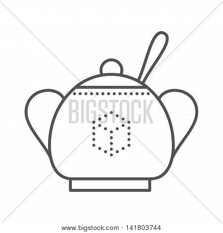 Sugar bowl with spoon inside. Thin line vector illustration