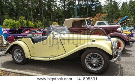 Yellow 1954 MG 6 August 2016 classic car show in Gig Harbor Washington