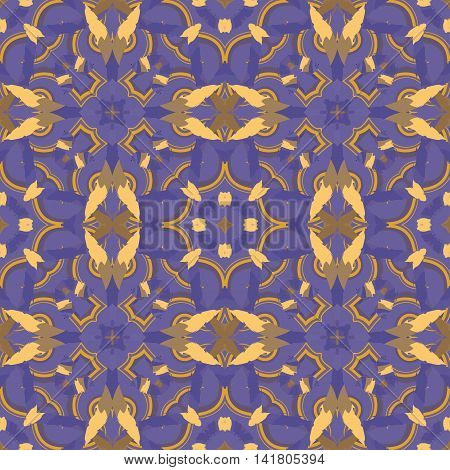 Abstract seamless pattern with geometric and floral ornaments ethnic style. Tile repeat.
