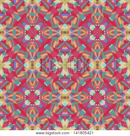 Abstract seamless pattern with geometric and floral ornaments boho style