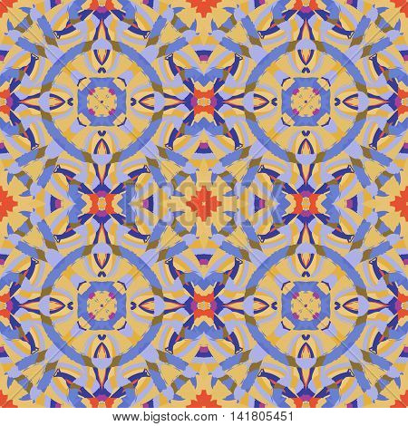 Abstract seamless pattern with geometric and floral ornaments vintage boho style. Tile repeat.
