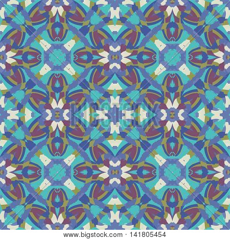 Abstract seamless pattern with geometric and floral ornaments vintage boho style