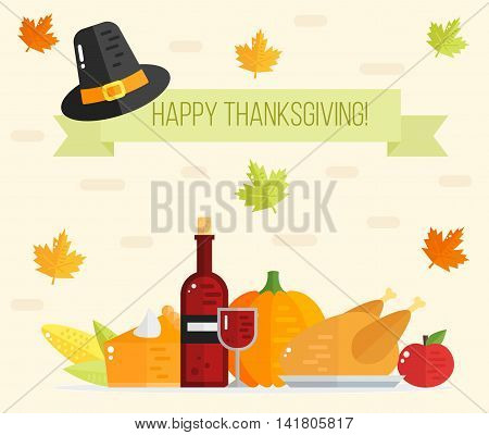 Happy Thanksgiving day card. Thanksgiving flat background.