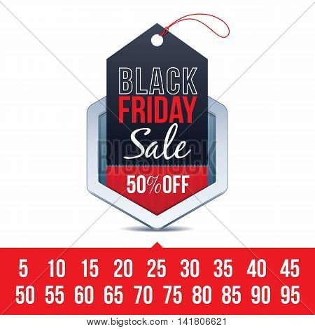 Hexagon Chrome Badge with Black Friday Sale Sign and Various Percentages