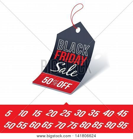Shopping Tag with Black Friday Sale Sign and Various Percentages