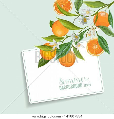Oranges and Flowers Card. Fruit Background. Wedding Invitation. Vector Card.