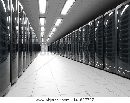 Modern data center with server racks technology background. IT cabinet rows 3D rendering.