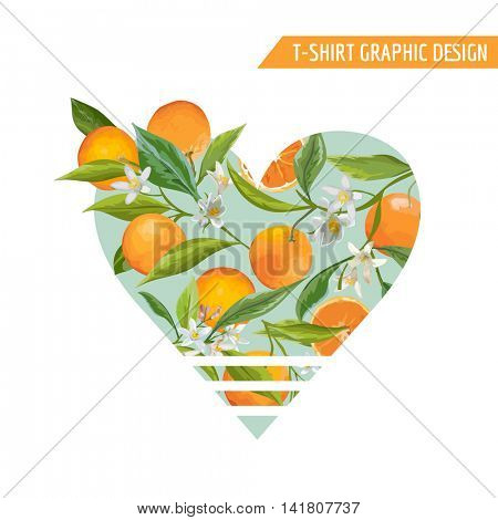 Orange Fruits Graphic Design. T-Shirt Fashion Prints. Vector Background.