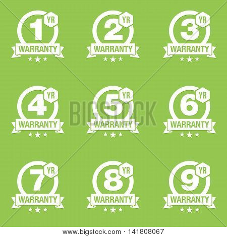 Round Warranty Badges with One, Two, Three, Four, Five, Six, Seven, Eight and Nine Years Warranty Terms