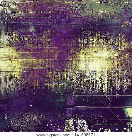 Vintage torn texture or stylish grunge background with ancient design elements and different color patterns: yellow (beige); brown; gray; green; purple (violet); pink