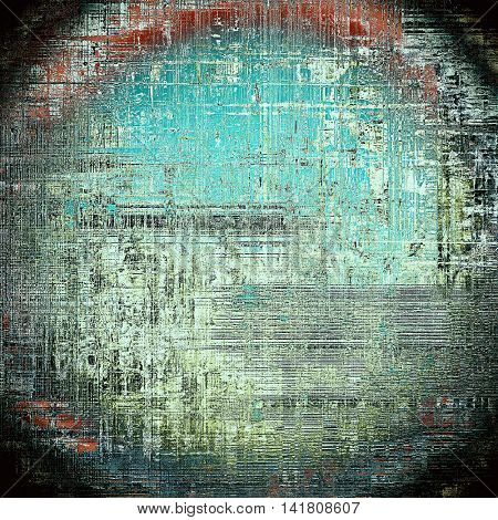 Spherical grunge background with delicate aged texture. Antique backdrop with retro vintage elements and different color patterns: gray; blue; red (orange); black; cyan