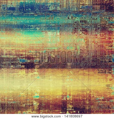 Vintage decorative texture with grunge design elements and different color patterns: yellow (beige); brown; green; blue; red (orange); purple (violet)