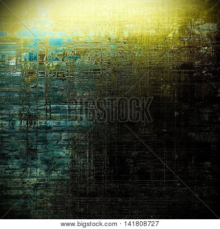 Highly detailed scratched texture, aged grungy background. Vintage style composition with different color patterns: yellow (beige); brown; gray; blue; black; cyan