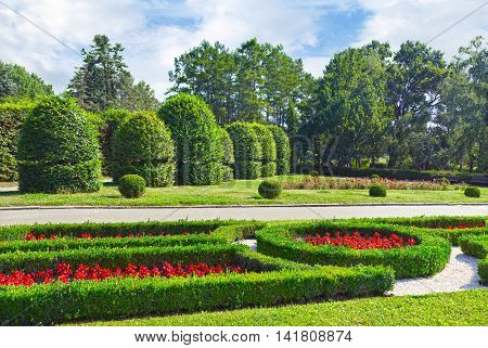 Beautiful flowerbed and fields in the Kiev botanical garden.
