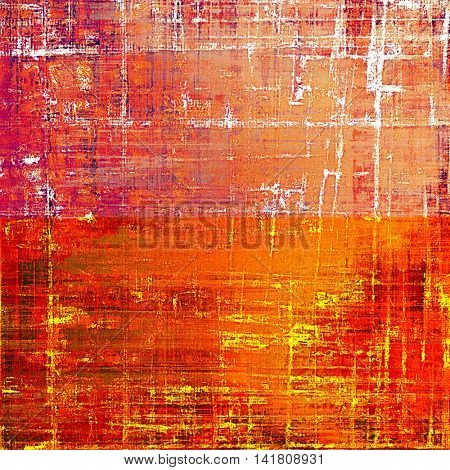 Retro style graphic composition on textured grunge background. With different color patterns: yellow (beige); brown; red (orange); purple (violet); white; pink